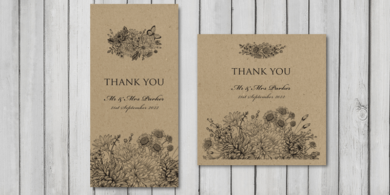 Wedding thank you cards are a lovely way to finish the Botanical Garden recycled wedding stationery set.