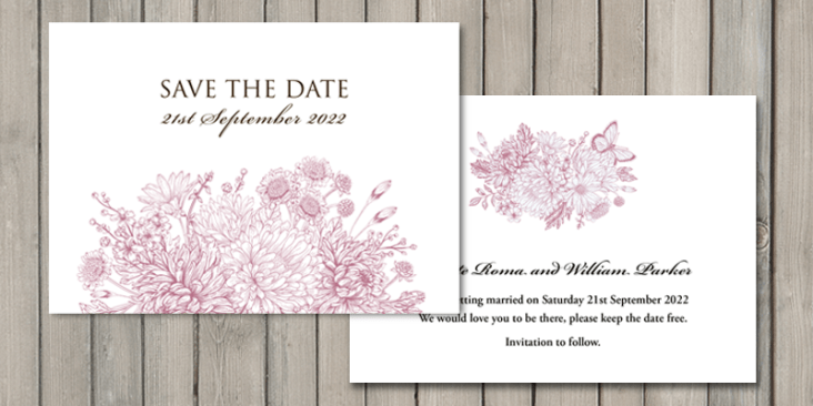 These save the date cards are printed onto eco friendly bamboo card