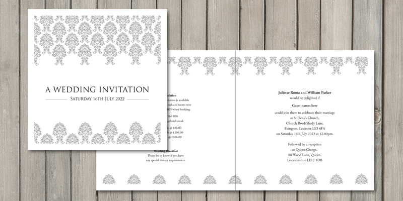Damask square wedding invites are printed on all 4 sides and are fully personalised with wedding information.