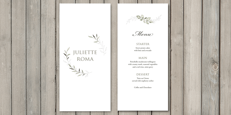 Serenity wedding place card and menu in one let guests know where to sit and their wedding breakfast choices.