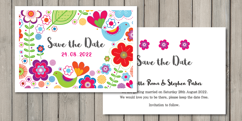 Sunshine wedding stationery, save the date cards will give guests lots of time to plan for your wedding date.