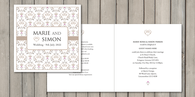 True Love square wedding invitations are fully personalised on all four pages.
