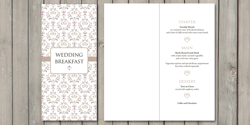 True Love wedding breakfast menu can include the menu and also any other guest information for the day.