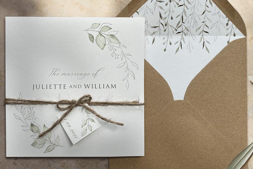 Eco friendly wedding invitation