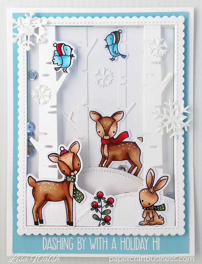 Reindeer Christmas card | MFT Dashing Deer Christmas Shaker card. Video tutorial. Supplies list. Visit the blog | Lisa Walsh - Papercraft Business. #stamping #mftstamps #shakercards #christmascards #papercrafting #papercraftbusiness