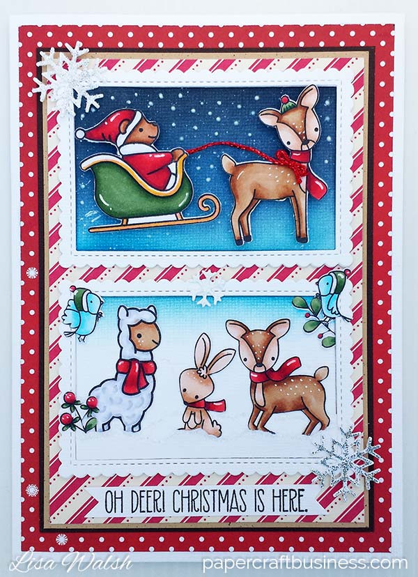 A Christmas Animal Card featuring Lawn Fawn Oh What Fun stamp set. Visit the blog for how to & supplies list. Copic Colours used: Santa & sleigh - R59, R46, R35, C0, C1, G29, YG67, YG63, Y17, YR02, E35 Reindeers - E37, E33, E31, E50, E11 Alpaca - C0, C1, C3 Birds - B000, B00, B02Lisa Walsh @ Papercraft Business.com #lawnfawn #mftstamps #papercrafting #christmascard #papercraftbusiness