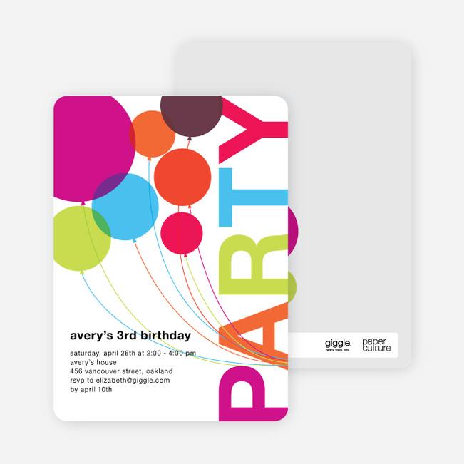Rainbow Balloons Birthday Party Invitations Multi
