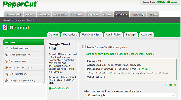 PaperCut's Google Cloud Print setup interface