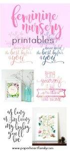 Beautiful, free printables for your baby girl's feminine nursery. Includes pink, floral, black and white and many more options with sweet quotes.