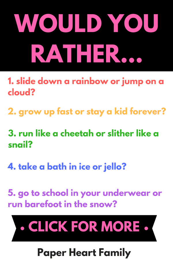 hilarious would you rather questions for kids