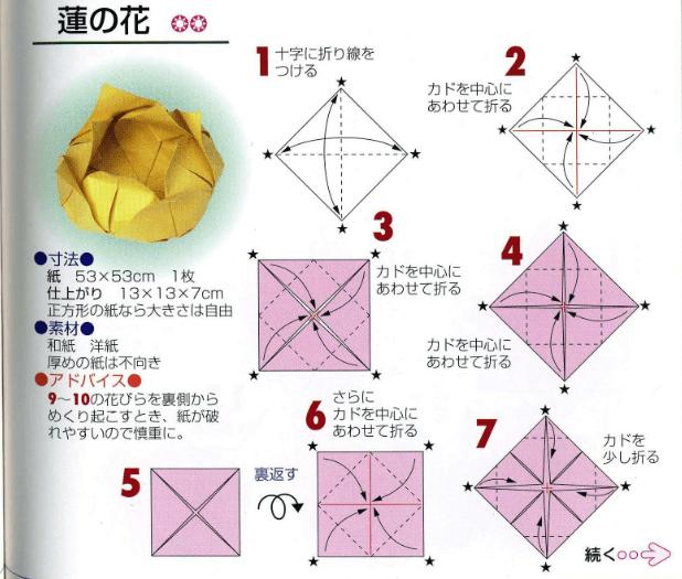 Flower Lotuslotus Flower Origami Instructionsorigami Lotus Diagram