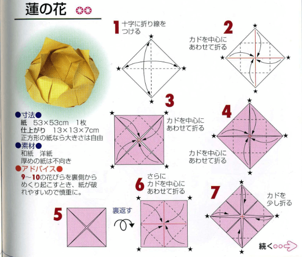 on origami flower diagram