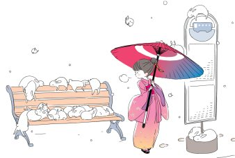 Konachan.com - 92570 animal japanese_clothes rabbit rakuraku umbrella white