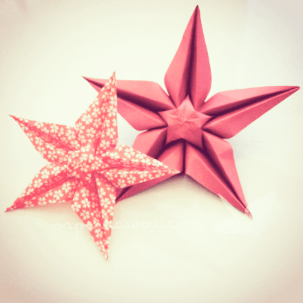 Origami Sakura Star Tutorial - Designed by Ali Bahmani via @paper_kawaii
