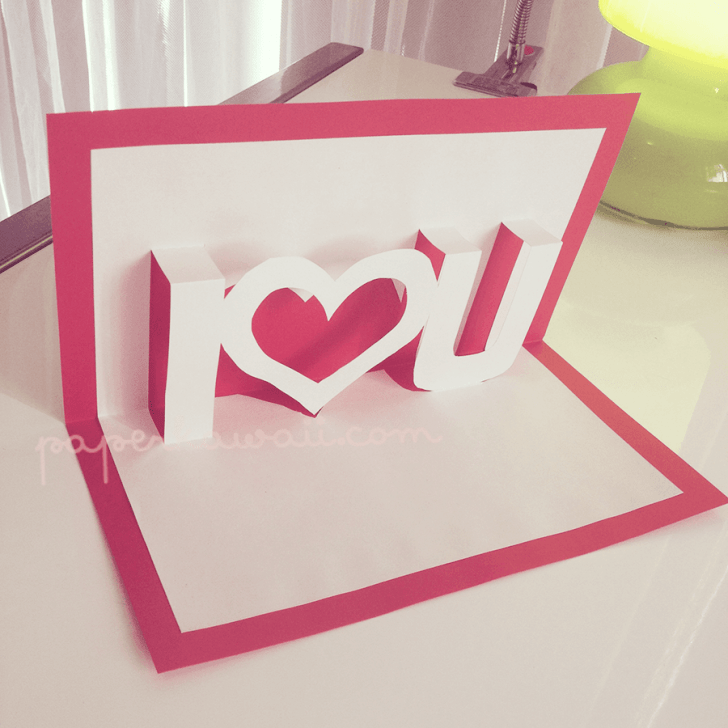 Pop up Valentines Card template I ♥ U via @paper_kawaii