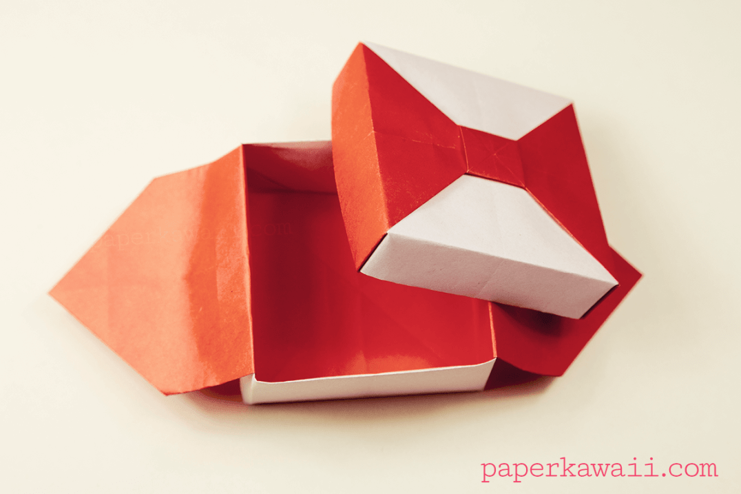 Origami Box with Bow - Tutorial #origami #bow #box #giftbox #tutorial #instructions
