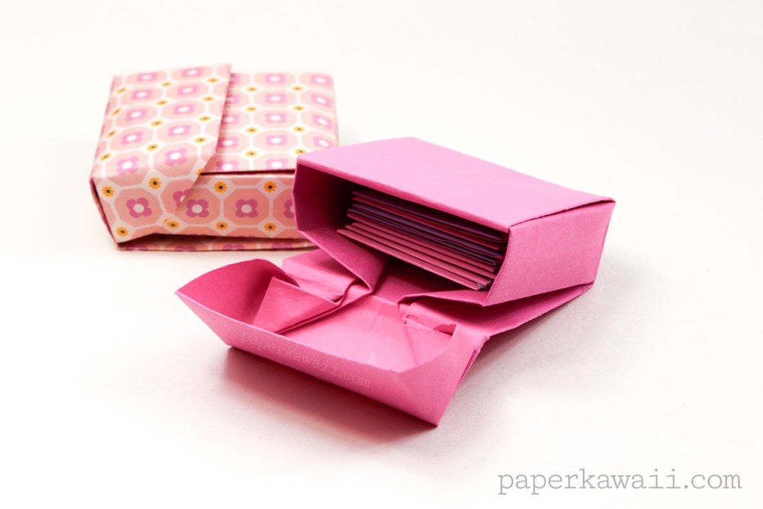 Origami flip top box instructions paper kawaii for How to make paper stuff