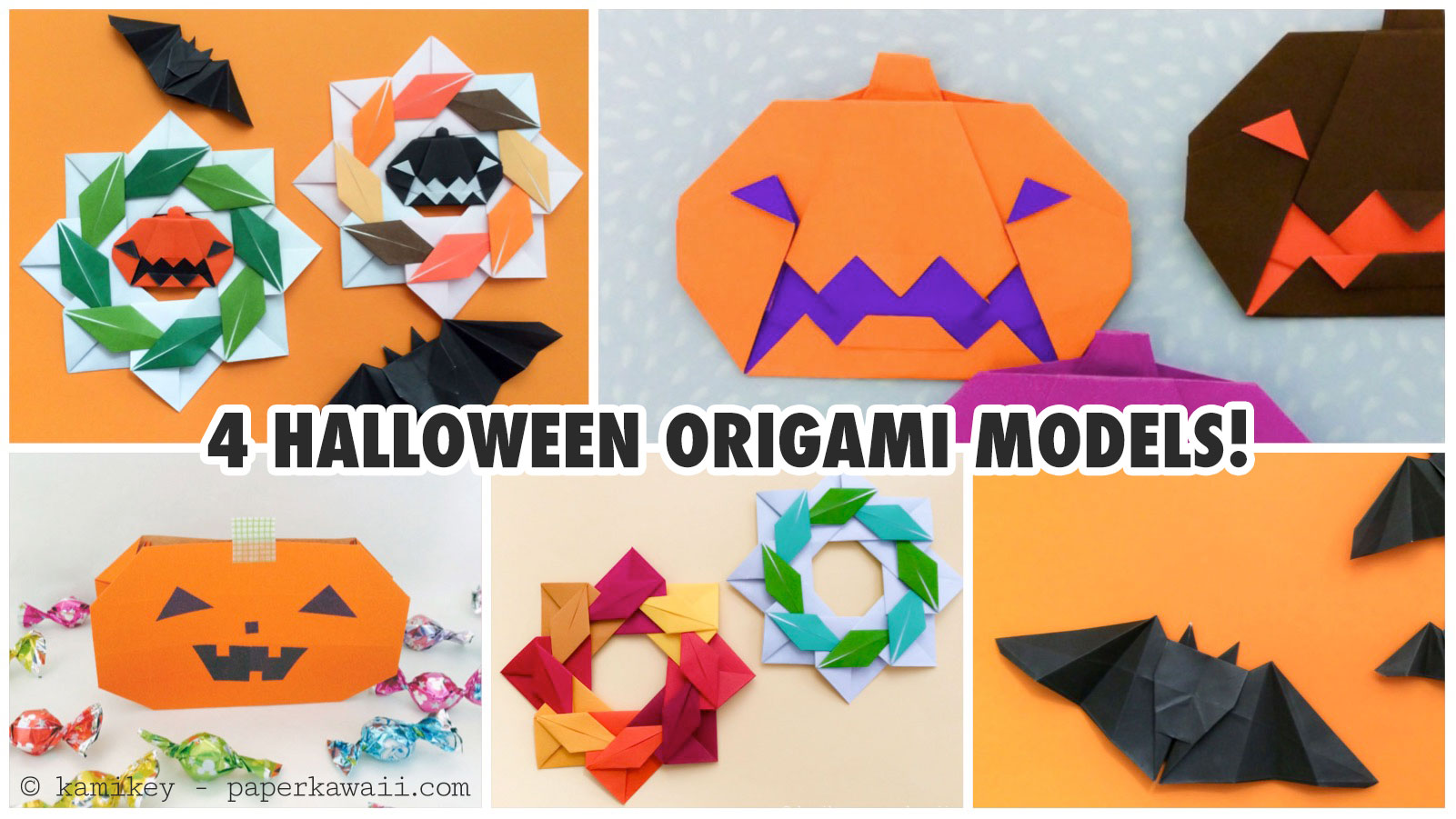 4 cute halloween origami models paper kawaii jeuxipadfo Gallery