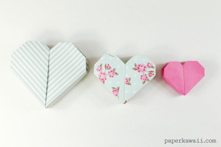 Origami Heart Box Instructions - DIY Tutorial - Paper Kawaii - YouTube | 485x728