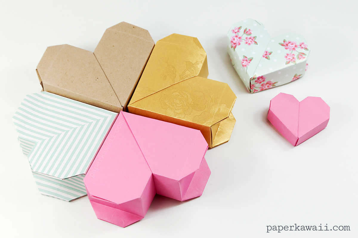 The Medium Sized One With Mint And Pink Pattern Was Made From 15 X Cm First Marks Were At 25 Origami Heart Box Instructions