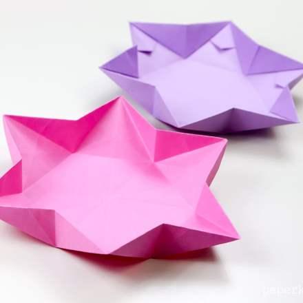Hexagonal Origami Star Dish / Bowl Instructions via @paper_kawaii