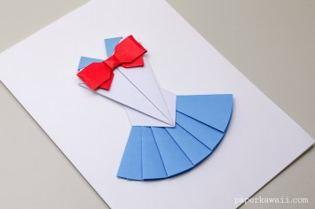 Origami Sailor Moon Dress with Bow Instructions - Layed Effect - Paper Kawaii - #origami #paper #cute #bow #crafts #diy #instructions