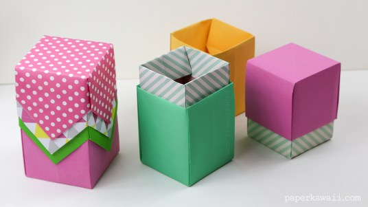 tall origami box or lid instructions #origami #crafts #diy