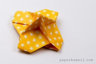 Yellow origami name card holder