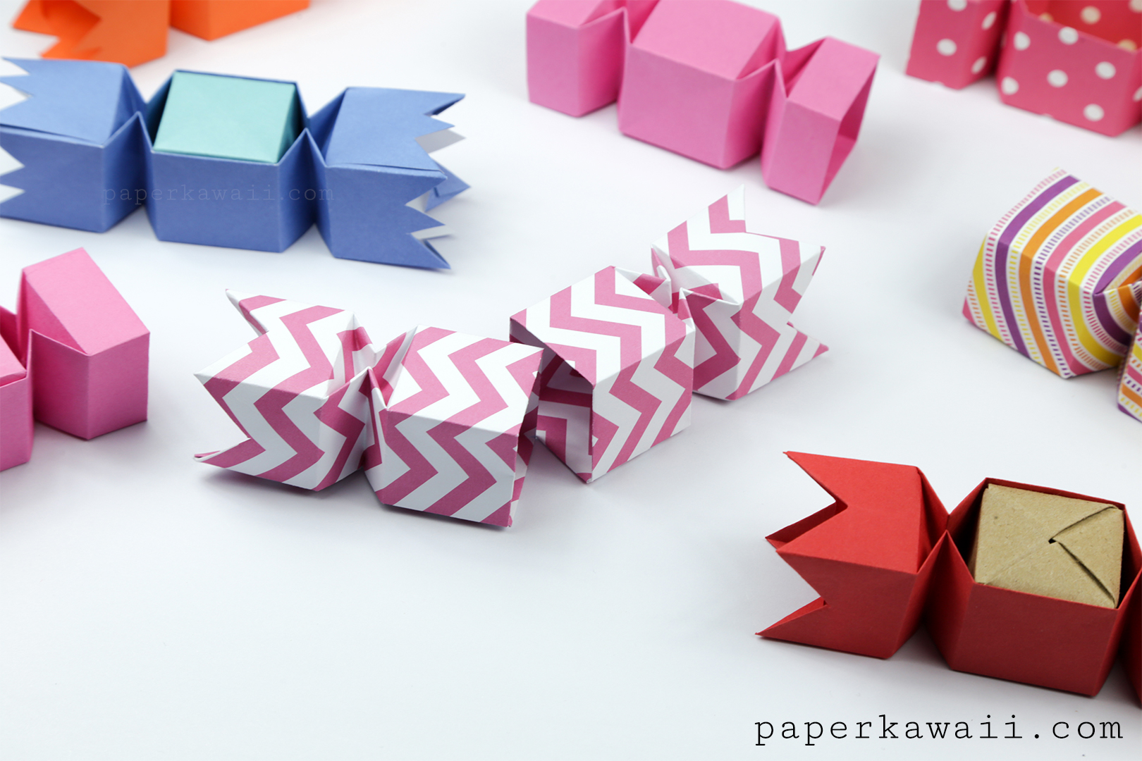 origami candy box opening version tutorial paper kawaii