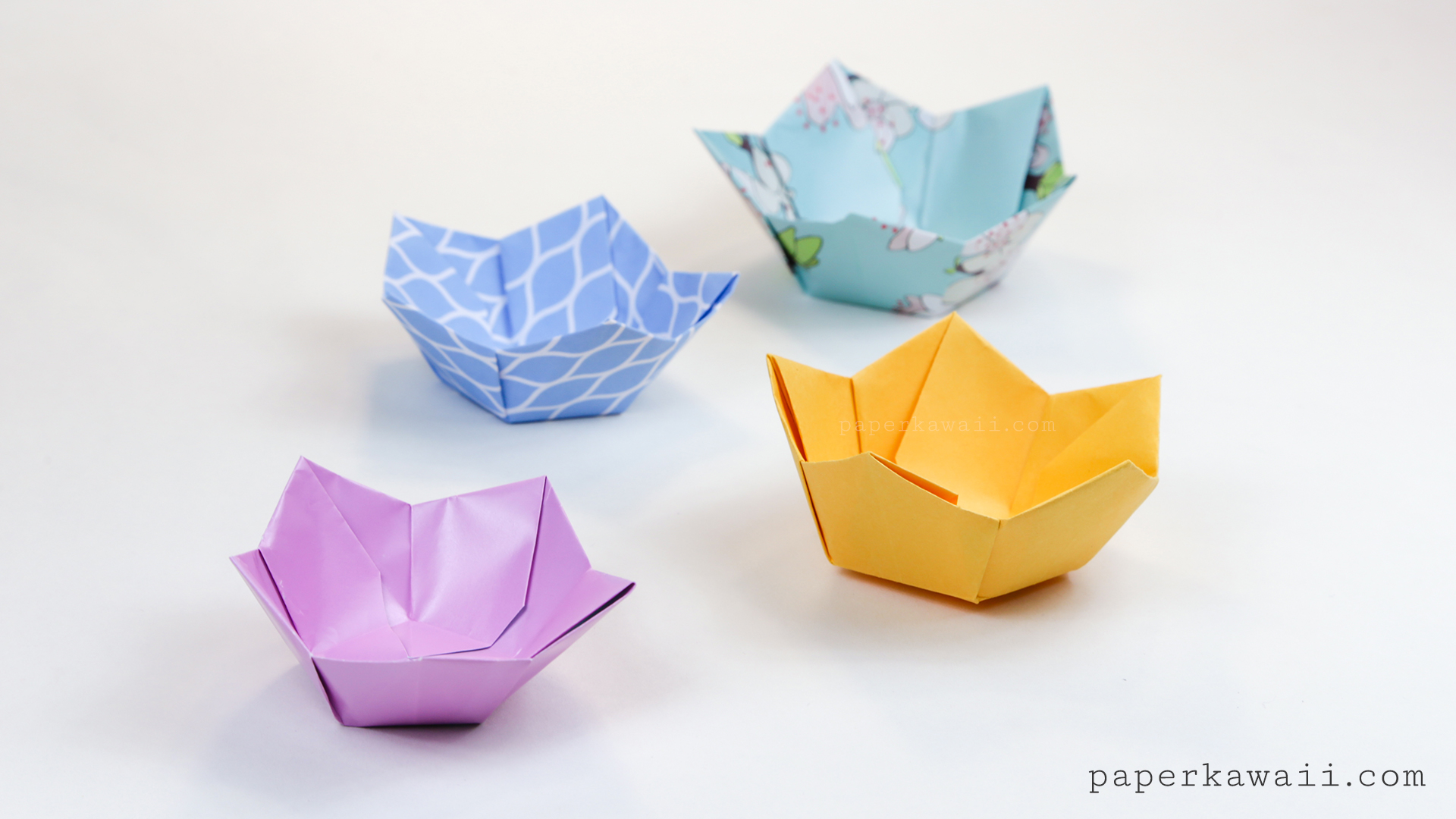 Origami Flower Bowl Tutorial Paper Kawaii