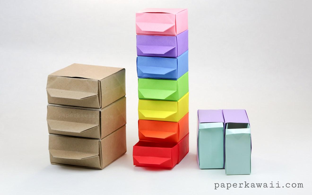 Tall Origami Drawers - Tutorial via @paper_kawaii