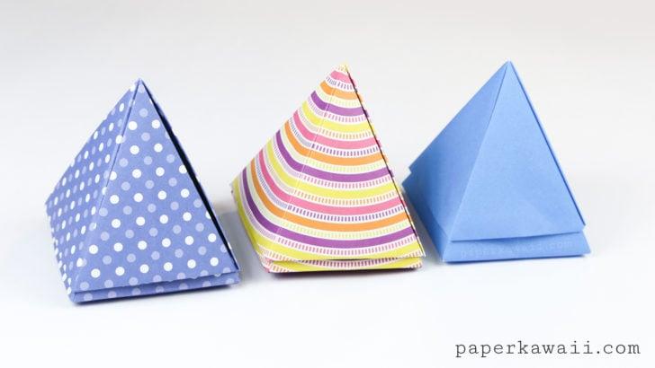 origami pyramid box instructions paper kawaii