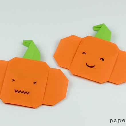 Inflatable Origami Pumpkin Tutorial - Halloween Jack O'Lantern via @paper_kawaii