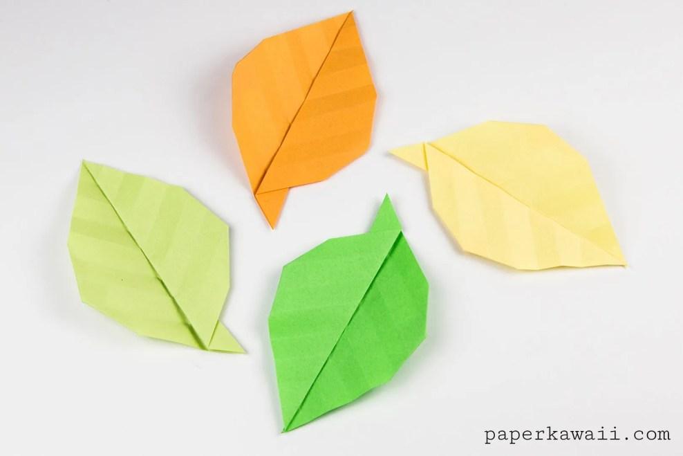 Simple Origami Leaf Instructions - Video Tutorial via @paper_kawaii