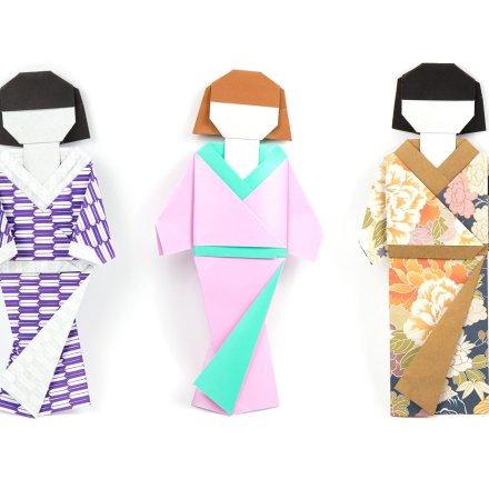 Origami Japanese Doll in Kimono Dress Tutorial via @paper_kawaii