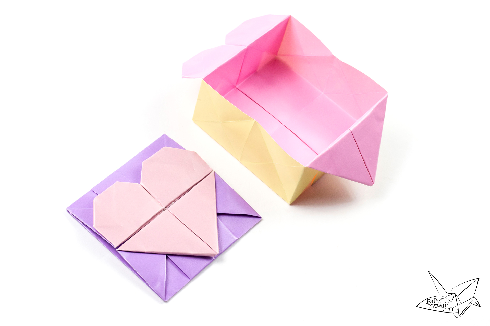Origami bamboo letterfold folding instructions - Origami Opening Heart Box Envelope Tutorial