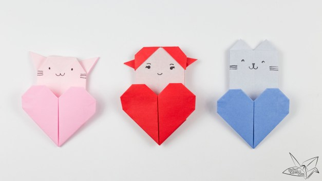 Origami Cat Heart Tutorial – Origami Heart Pocket