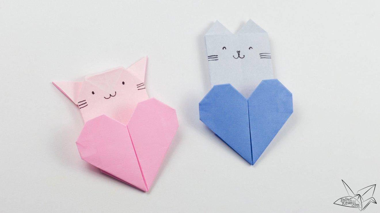 Origami Cat Heart Tutorial - Origami Heart Pocket via @paper_kawaii