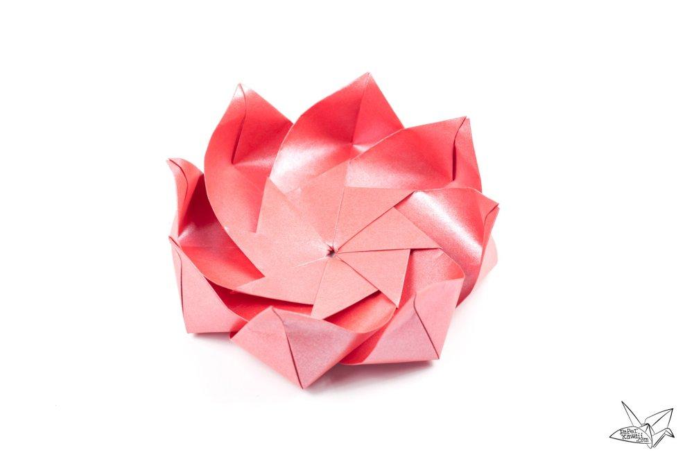 Modular Origami Lotus Flower With 8 Petals Tutorial Paper Kawaii