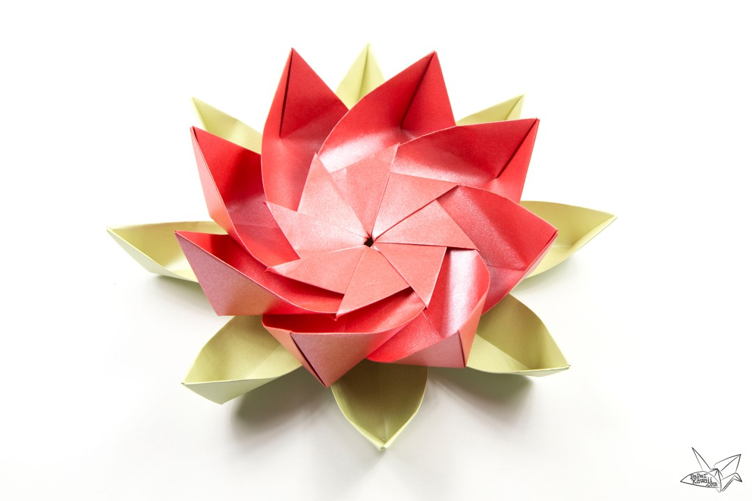 Modular Origami Lotus Flower With 8 Petals