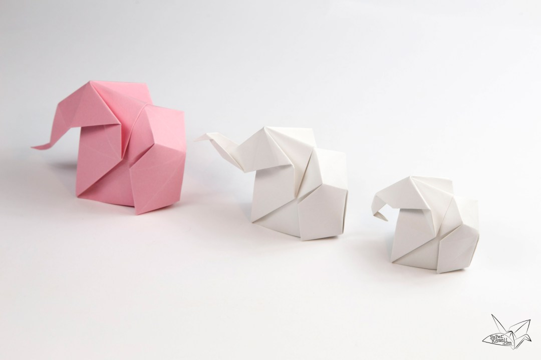 origami elephant tutorial paper kawaii