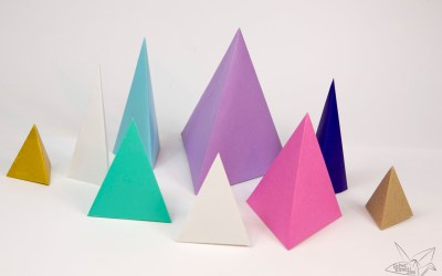 Origami Tetrahedron – 3 Sided Pyramid Tutorial