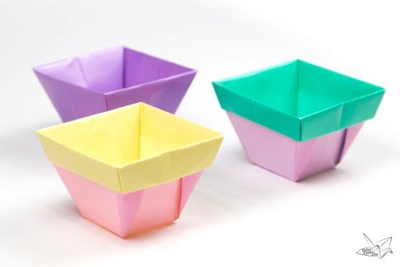 Tapered Origami Box / Origami Plant Pot Tutorial