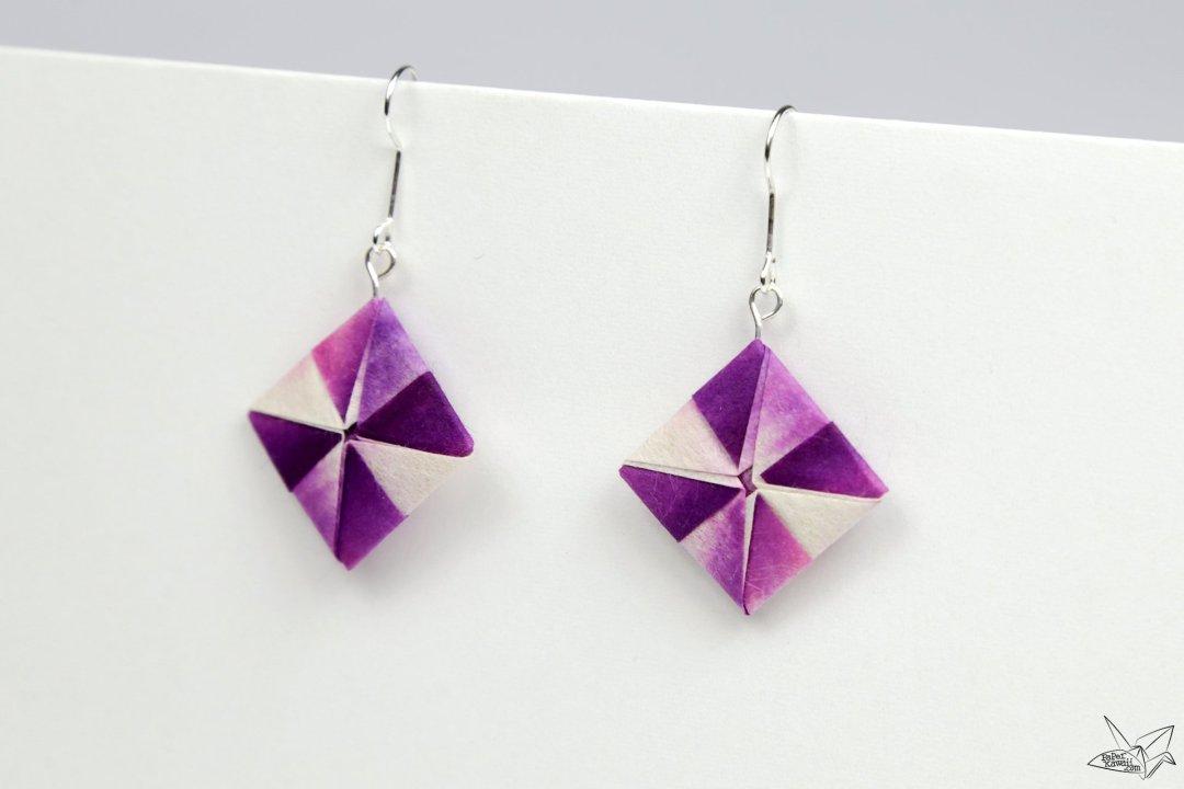 origami earrings tutorial pinwheel squares paper kawaii