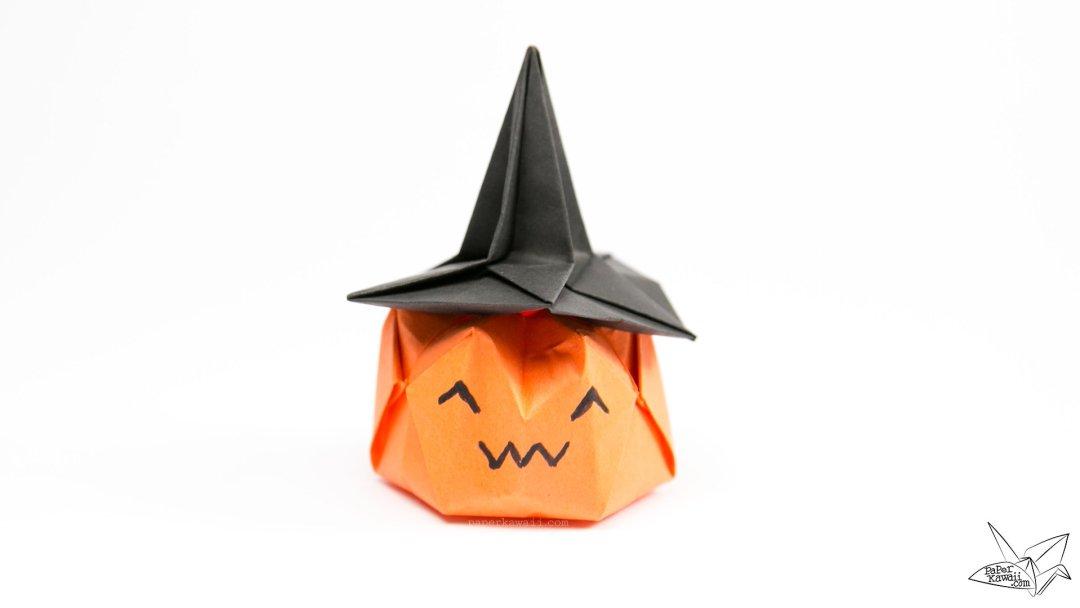 Inflatable Origami Pumpkin Tutorial - Halloween Jack O'Lantern via @paper_kawaii