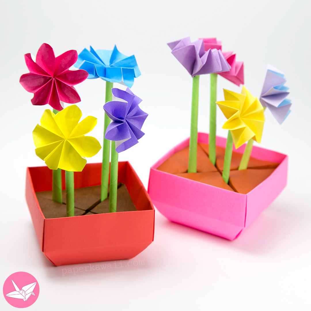 Origami angled base box pot tutorial paper kawaii learn how to fold a useful origami angled base box the slant on the base of this box makes it resemble a plant or flower pot mightylinksfo