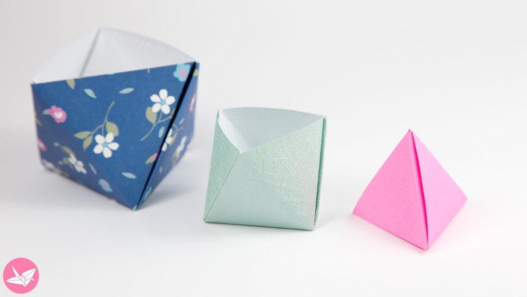 Origami Pyramid Gift Box, Pot or Decoration Tutorial via @paper_kawaii ...