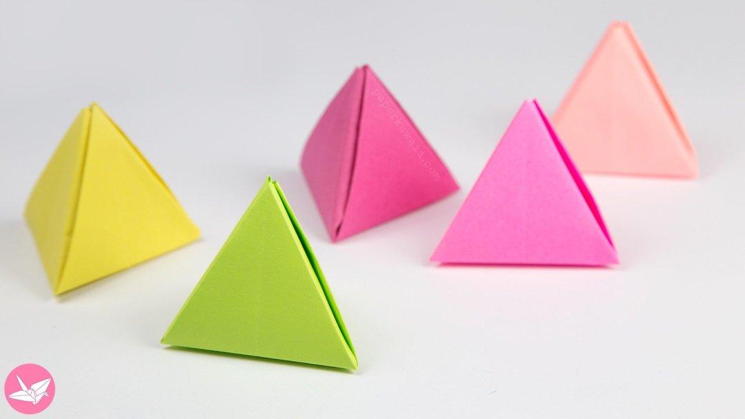 origami pyramid gift box pot or decoration tutorial