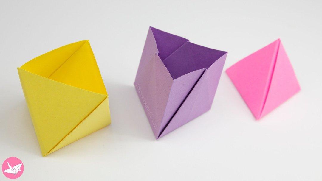 Origami Pyramid Gift Box Pot Or Decoration Tutorial Paper Kawaii