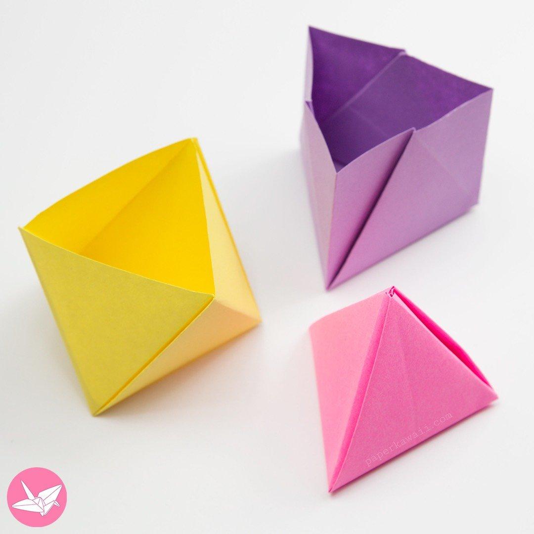 Origami Pyramid Gift Box, Pot or Decoration Tutorial via @paper_kawaii